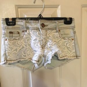 Denim Shorts with white lace size 0